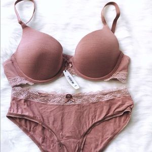 NWT ADORE ME PINK LACE BRA AND PANTY SET 34B SM